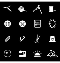 White sewing icon set vector