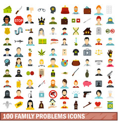 100 family problems icons set flat style vector