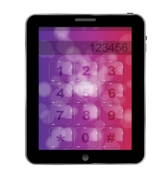 Universal design tablet with numbers icon vector