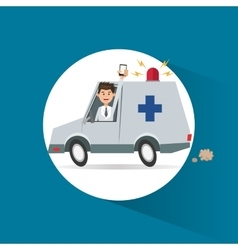 Ambulance vehicle and transportation design vector