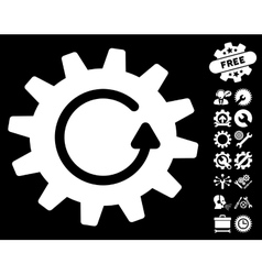 Cogwheel rotation icon with tools bonus vector