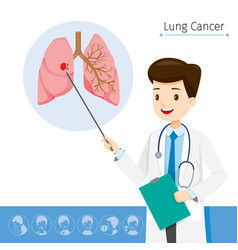 doctor describes about cause to lung cancer vector image