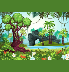 Tropical wood jungle forest with palms and river vector