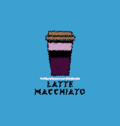 Flat icon design collection latte macchiato to go vector
