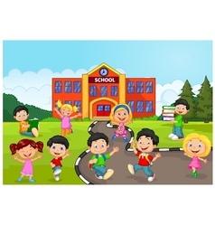Happy school children in front of school vector