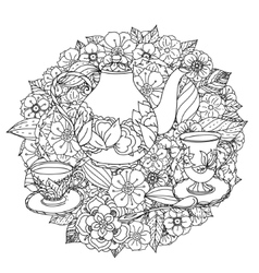 With elements of time for tea vector