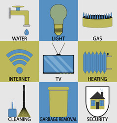 Utilities household services icon set modern vector