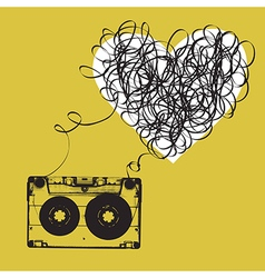 Audiocassette with tangled tape haert shaped vector