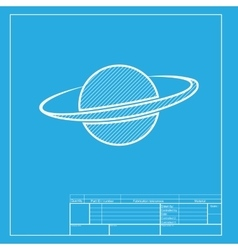 Planet in space sign white section of icon on vector