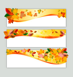Autumn banners with orange leaves vector