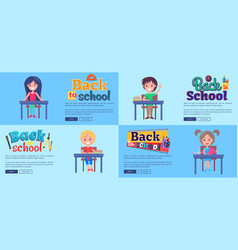 Back to school collection of posters with pupils vector
