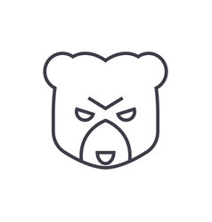 bear head sign line icon sign vector image vector image
