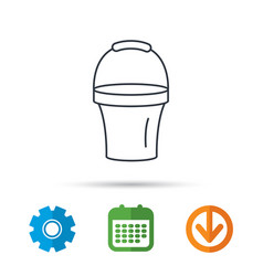 Bucket icon trash bin sign garden equipment vector