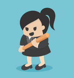 Business woman holding baseball bat vector
