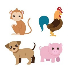 Chinese astrology signs set vector image