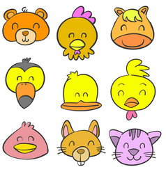 collection stock animal head colorful doodles vector image vector image