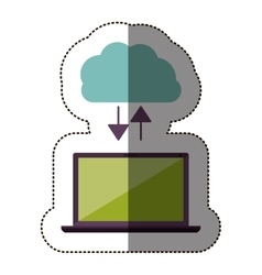 Color sticker with cloud service and laptop vector