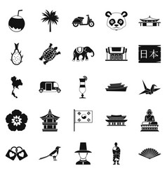 Countries in asia icons set simple style vector
