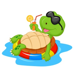 Cute turtle cartoon on inflatable round vector