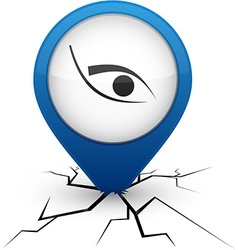 Eye blue icon in crack vector