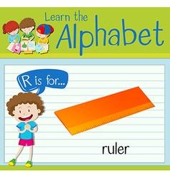 Flashcard alphabet r is for ruler vector