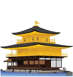 Golden pavillion temple vector
