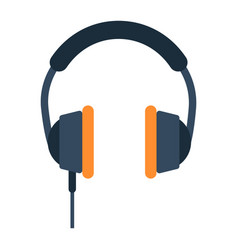 headphone flat icon listen and music vector image vector image