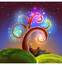 Imagination tree reading vector image