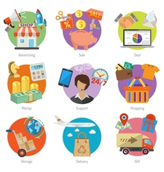 Internet Shopping and Delivery Flat Icon Set vector image vector image