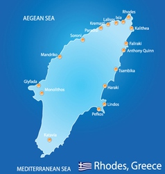 Island of Rhodes in Greece map vector image vector image