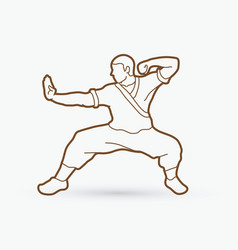 Kung fu action ready to fight outline vector