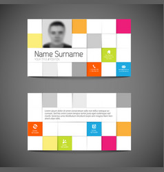 Modern mosaic business card template with flat vector