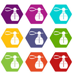 Perfume bottle with vaporizer icon set color vector