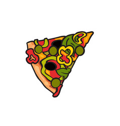 pizza slice flat isolated vector image vector image