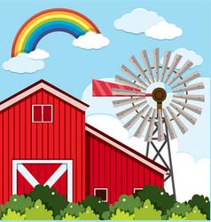 Red barn and wind turbine on the farm vector