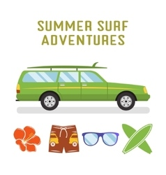 retro flat surf car design and elements - vector image vector image