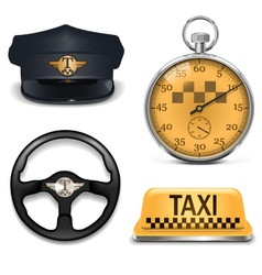 Retro taxi icons vector