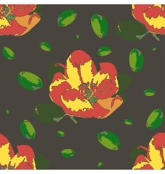 Seamless pattern with apple flower vector image