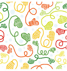 Seamless pattern with cute colorful gloves vector