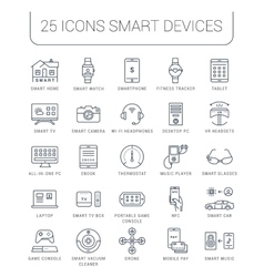 Set flat line icons smart device vector
