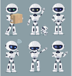 set of cute white ai machines vector image
