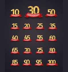 Set of isolated event numbers with red ribbons on vector