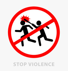 sign stop violence one symbolically drawn person vector image vector image