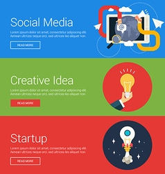 Social media creative idea startup flat design vector