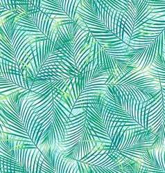 Tropical palm leaves in a seamless pattern on a vector image
