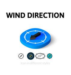 Wind direction icon in different style vector