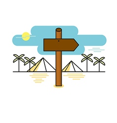 Wooden sign shaped like an arrow on desert path ve vector