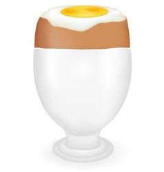 Boiled egg in a glass vector