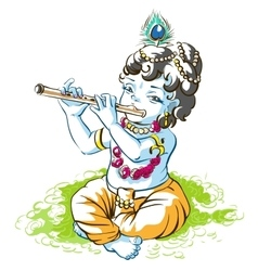 God krishna janmashtami boy shepherd playing vector