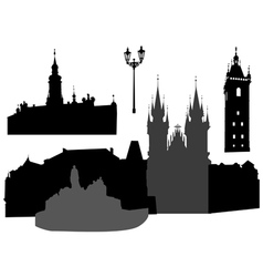 Prague silhouettes vector